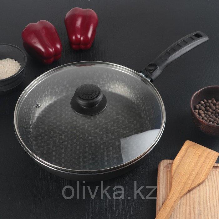 Сковорода «Русская кухня лён», d=26 см стеклянная крышка, съёмная ручка