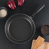 Сковорода «Русская кухня лён», d=26 см стеклянная крышка, съёмная ручка, фото 2