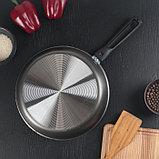 Сковорода «Русская кухня лён», d=26 см стеклянная крышка, съёмная ручка, фото 5