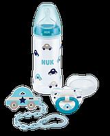 NUK Набор подарочный 3 предмета (бутылка FС+, пустышка, цепочка) голубой