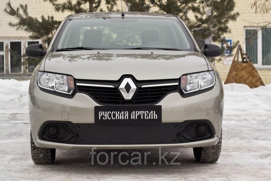 Зимняя заглушка решетки переднего бампера Renault Logan 2014-