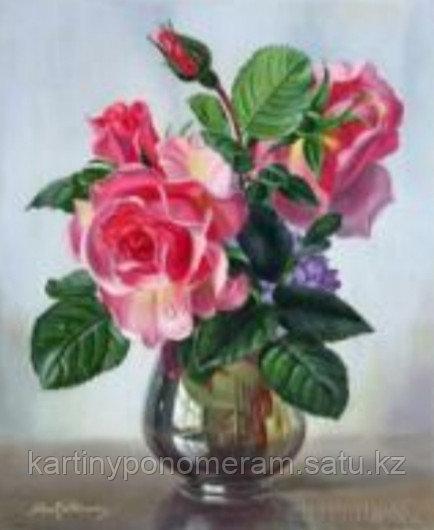 """Картины по номерам """"Розы в вазе"""""""