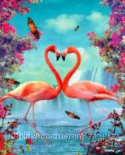 """Картины по номерам  """"Фламинго в розовых цветах"""""""