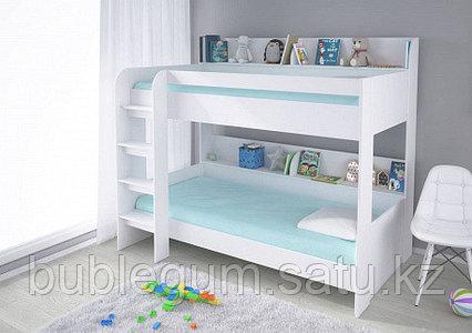Кровать двух ярусная Polini Simple 5000 (белый), с полками