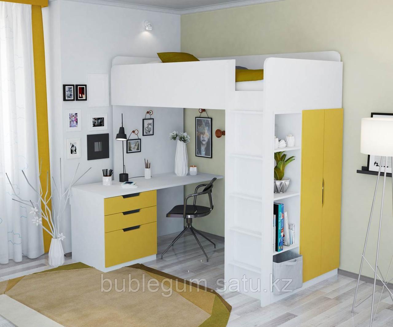 Кровать-чердак 5 в 1 Polini Simple с письменным столом и шкафом