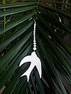 Серьги Brosh Jewellery  Ласточка ручной работы (акрил, белый), фото 2