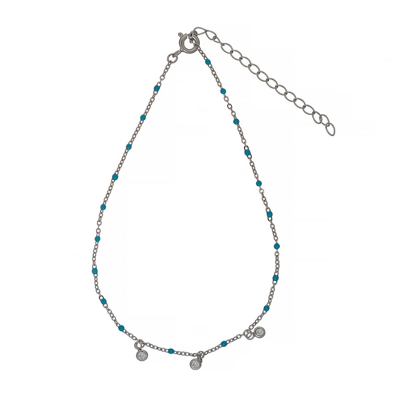 Серебряный  браслет для ног Brosh Jewellery (Серебро 925) покрытие родий ( Бирюза)