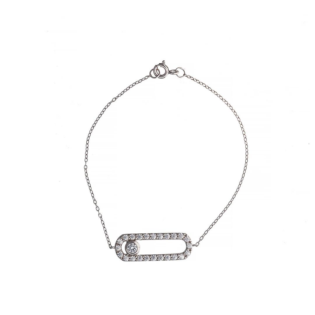 Серебряный  браслет г Brosh Jewellery (Серебро 925) покрытие родий, вставка фианит.