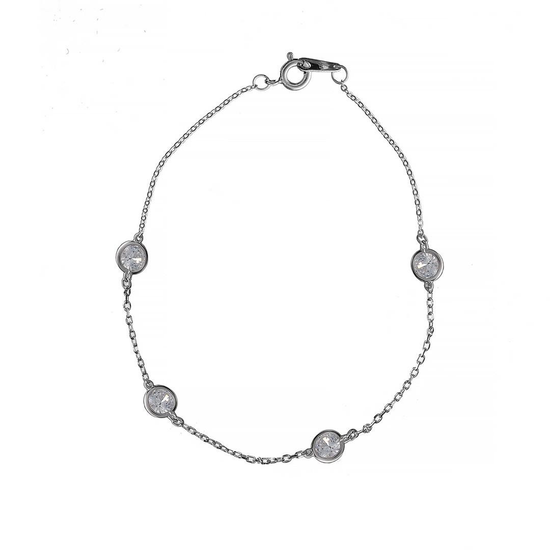 Серебряный  браслет для ног Brosh Jewellery (Серебро 925) покрытие родий, вставка фианит.