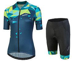 Женская короткая велоформа Nalini CHIC Women's Blue Cycling Jersey And Shorts Set