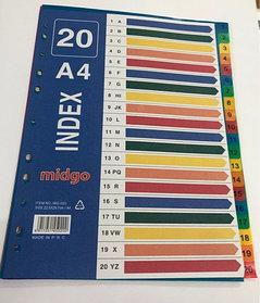 Разделители документов А4, 1-20 цвет, пластик