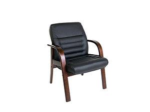 Кресло для посетителей кожанное дерево