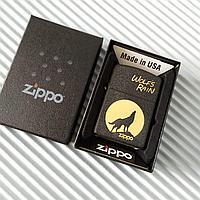 """Зажигалка """"Zippo"""" с волком, в подарочной коробке., фото 1"""