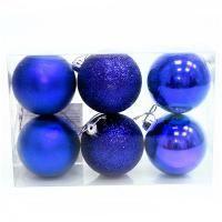 Вельт Набор пластиковых шаров 6 шт, 80 мм, синий.