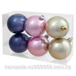 Феникс Презент Набор пластиковых шаров 6шт, 60 мм, белый, розовый, фиолетовый, пластиковая упаковка.