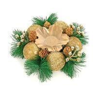 Веселый хоровод Подсвечник новогодний с золотыми украшениями 14 см.