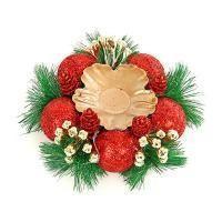 Веселый хоровод Подсвечник новогодний с красными украшениями 14 см.