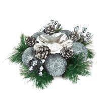 Веселый хоровод Подсвечник новогодний с серебряными украшениями 14 см.