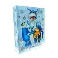 """Non-branded Пакет бумажный подарочный, """"Дед мороз с зверями"""", эффект: глянцевая поверхность, размер 33 х 43 х 10"""
