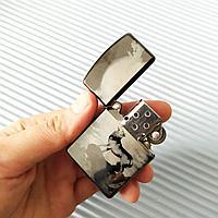 """Зажигалка """"Zippo"""" с волком, серебристый. В подарочной коробке., фото 1"""