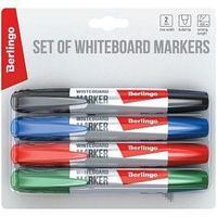 Berlingo Набор маркеров для досок Berlingo, черный, синий, красный, зеленый, 2 мм.