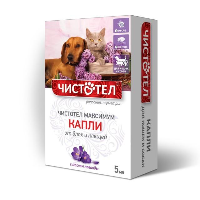 Капли Чистотел Максимум от блох и клещей для кошек и собак