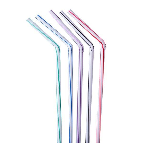 Трубочки д/коктейля гофр. d=5мм L=240мм, разноцветн. полосат. ПП, 250 шт