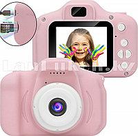 Детский цифровой фотоаппарат с рамками и видеосъемкой 400 mAh (розовый)