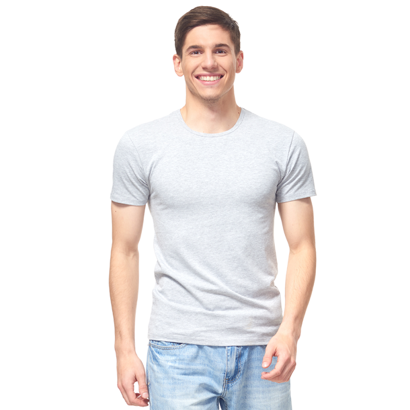 Мужская футболка-стрейч, StanSlim, 37, Серый меланж (50/1), S/46