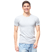 Мужская футболка-стрейч, StanSlim, 37, Серый меланж (50/1), XS/44
