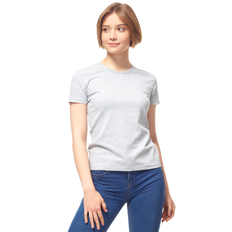 Женская футболка-стрейч, StanSlimWomen, 37W, Серый меланж (50/1), L/48
