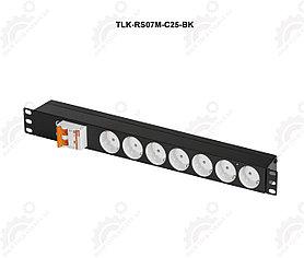 "Блок электрических розеток TLK, 19"" на 7 гнезд, с автоматом 2P 25A"