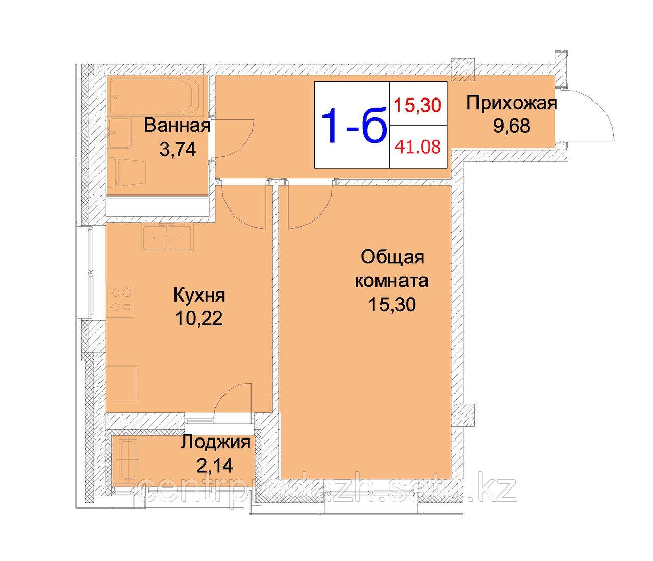1 комнатная квартира 41.08 м²