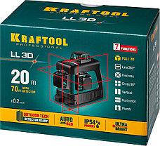 """Нивелир лазерный """"LL-3D"""" 360 градусов, 20м / 70м (детектор), сверхъяркий KRAFTOOL 34640, фото 3"""