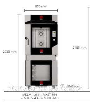 Конвекционная печь с расстоечным шкафом на 10 уровней MKLM 1064+ MKS 64 +MKF 1064 TS + MKKC 610