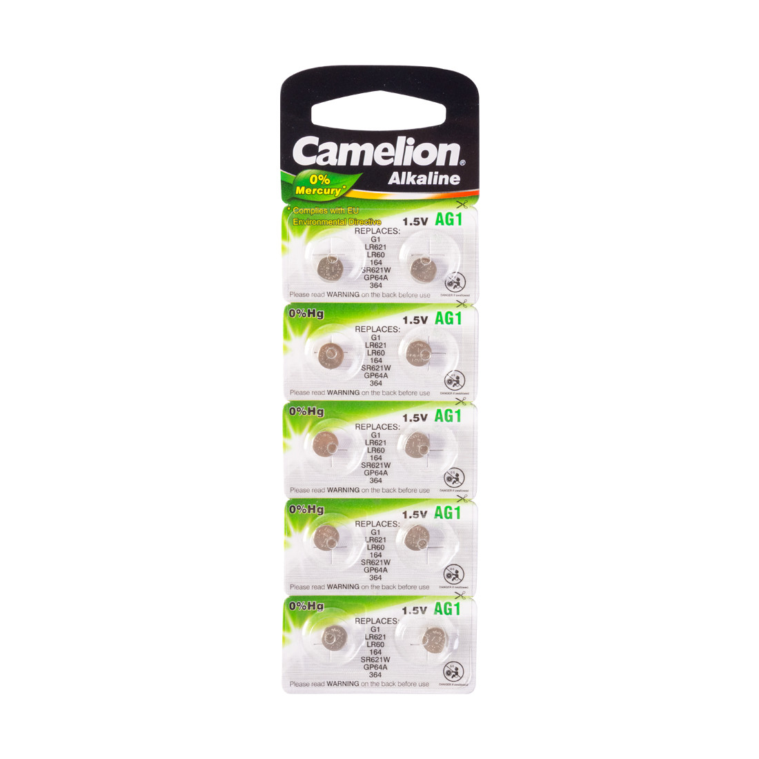 CAMELION AG1-BP10(0%Hg) Батарейка Alkaline, тип AG1, 1.5V, 0% Ртути, 10 шт. в блистере