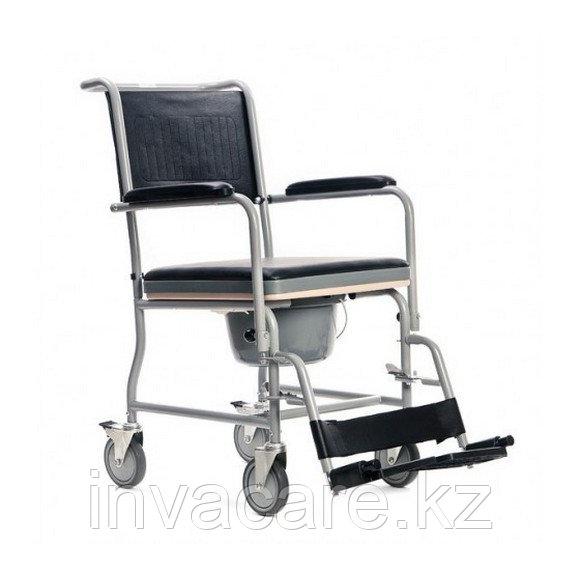Кресло туалетное VCWK2, складное на колёсах, с подпорками для ног, нагрузка до 100 кг