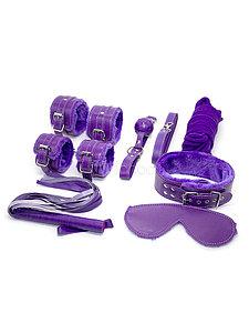 БДСМ набор с мехом, 8 предметов, фиолетовый