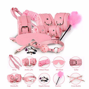 БДСМ набор с мехом, 11 предметов, розовый