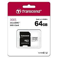 Карта памяти microSD 64GB Class 10 U1 Transcend TS64GUSD300S-A / Адаптер