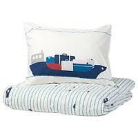 Пододеяльник и 1 наволочка,УППТОГ орнамент «волны/корабли», синий, 150x200/50x70 смИКЕА, IKEA, фото 1