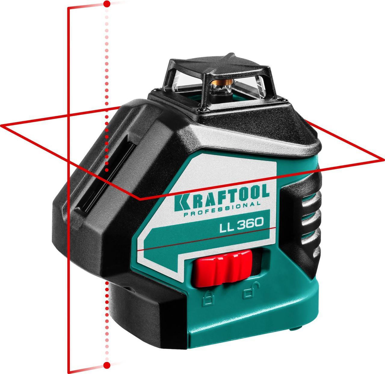 """Нивелир лазерный """"LL360"""", 360 градусов, 20м / 70м (детектор), сверхъяркий, KRAFTOOL 34645"""