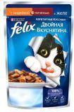 Felix Индейка и Печень Аппетитные кусочки Двойная вкуснятина Феликс Влажный корм для кошек, 85г