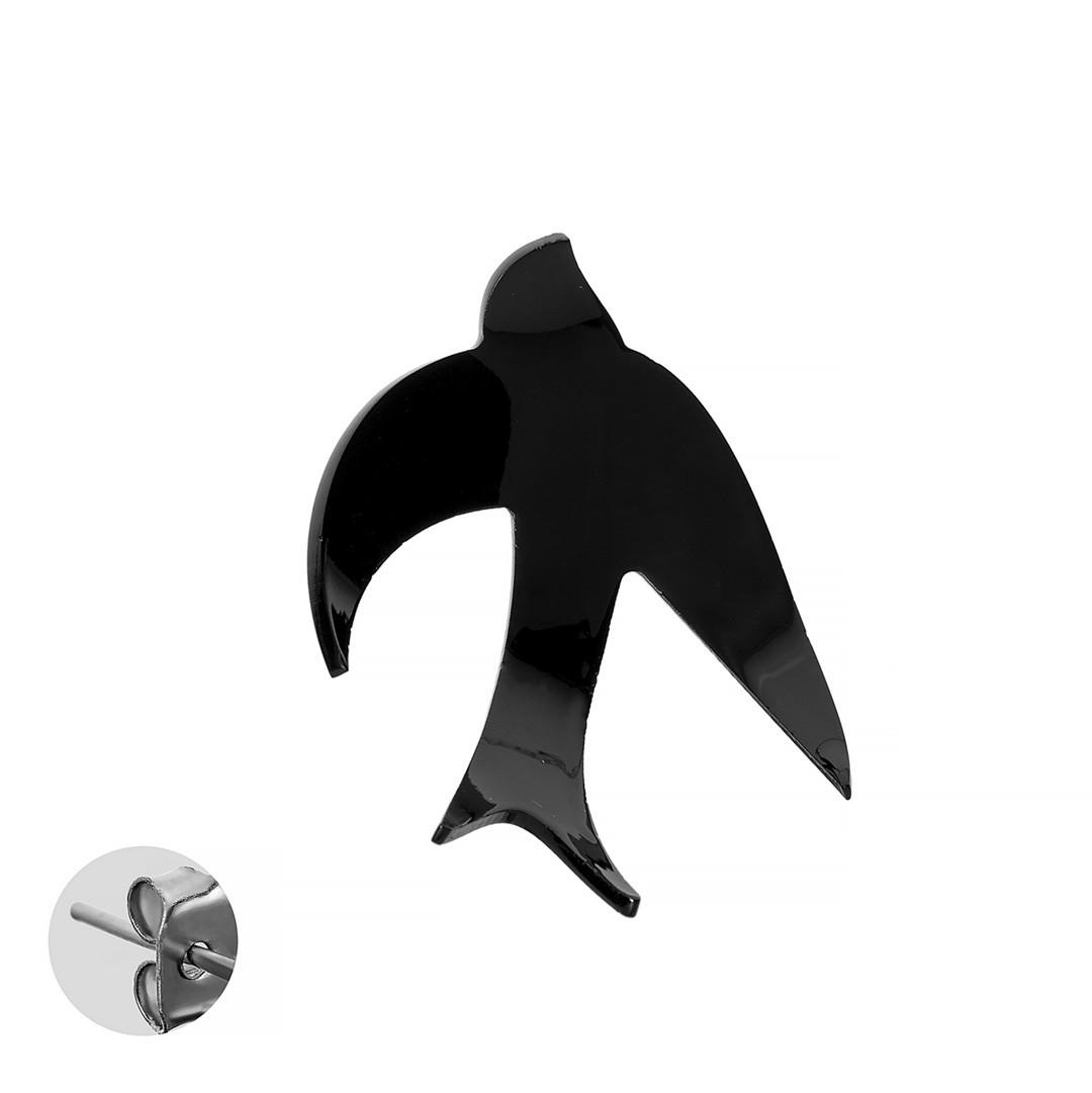 Моносерьга Brosh Jewellery  Ласточка ручной работы (акрил, черный)