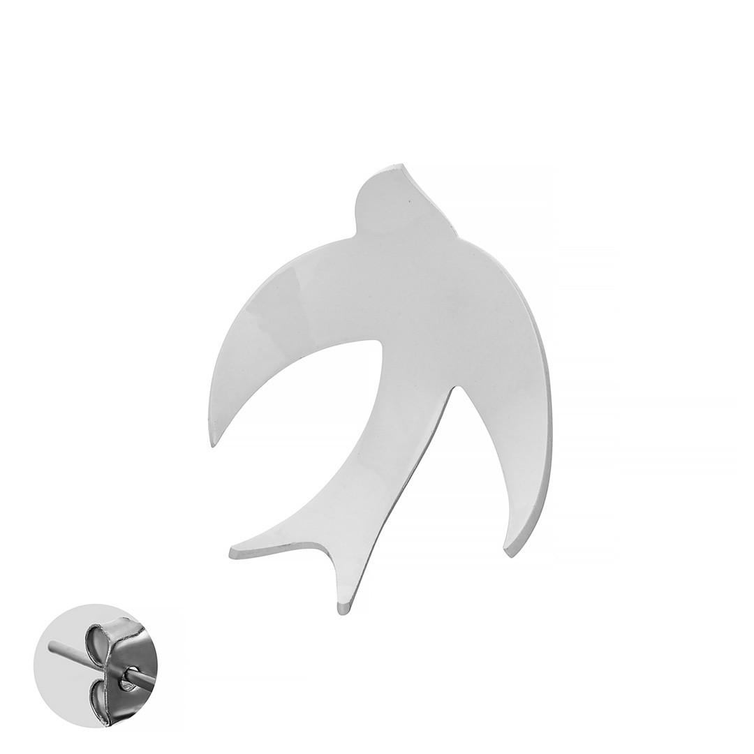 Моносерьга Brosh Jewellery  Ласточка ручной работы (акрил, белый)