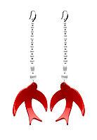 Серьги Ласточка Brosh Jewellery Ласточка ручной работы (акрил, красный)