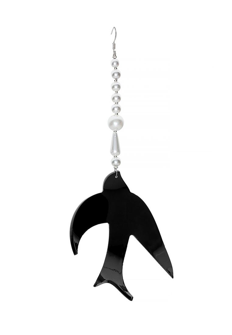 Моносерьга Ласточка Brosh Jewellery  Ласточка ручной работы (акрил, черный)