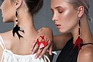 Моносерьга Ласточка Brosh Jewellery  Ласточка ручной работы (акрил, красный), фото 3