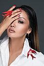 Моносерьга Ласточка Brosh Jewellery  Ласточка ручной работы (акрил, красный), фото 2