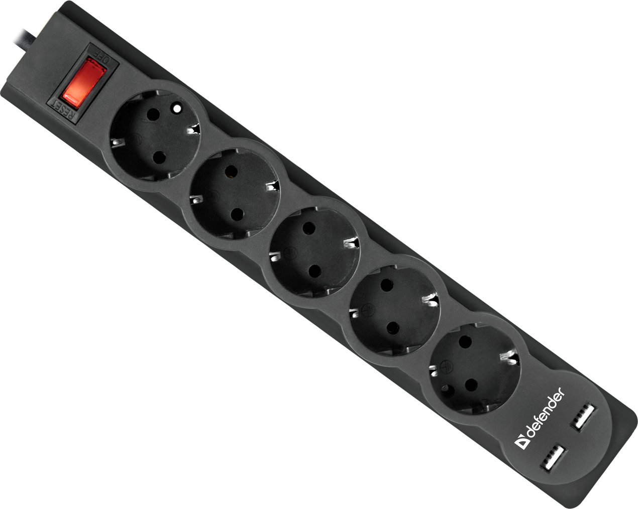 Сетевой фильтр Defender DFS 755 - 5,0 М, 2xUSB, 2.1A, 5 outlets